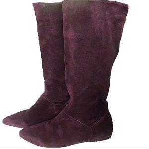 FRANCO SARTO Plum Burgundy Stretch Suede Boots